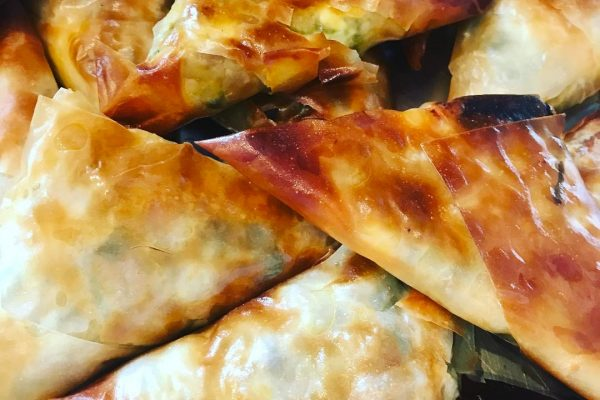 Sweet potato and feta samosas