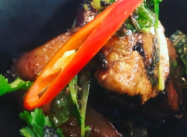 Pork tenderloin with glazed heritage carrots